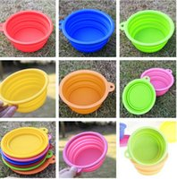 Wholesale 100pcs New Pet Dog portable bowl Silicone Collapsible Feeding Water Feeder Travel Bowl Dish color available