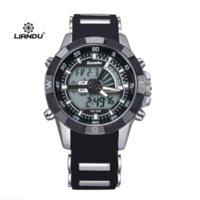Los hombres deportes al aire libre de cuarzo reloj digital de pulsera de silicona militares Relogio Masculino Liandu Marca Relojes B220 titular de reloj barato