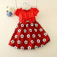 Wholesale In The Summer Of The New Beads Bowknot Printing Short Sleeve Dance Dress Skirt A Pack To Drop Shipping C