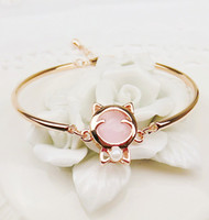 Wholesale New Classic Fashion Jewelry Charming Opal Cat Expandable Bangles Charm Bracelet for Women Gift For Girls