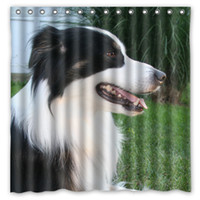 australian curtains - Australian Shepherd Black Spotted Fluffy Dog Design Shower Curtain Size x cm Custom Waterproof Polyester Fabric Bath Shower Curtains