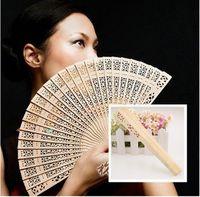 Wholesale Vintage Wedding Bridal Party Folding Bamboo Fan Original Wooden Carved Hand Fan