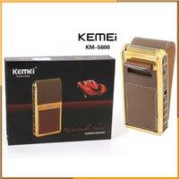 Kemei KM-5600 Mini máquina de afeitar eléctrica de cuero Shell de afeitar recargable con el espejo para el hombre a prueba de agua 2 en 1 máquina de afeitar eléctrica alternante