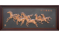 ancient murals - Ancient Chinese Culture And Art Festival Gifts Precious Wall Plaque Embossed Opened A Large Mural Of Image Spirit Eight Horses Copper Relief