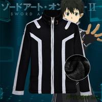 Cheap Wholesale-2016 New Sword Art Online Hoodie Men Black Fleece Coat Anime Casual Sweatshirt Sword Art Online 2 SAO Game Cosplay Jacket M-2XL