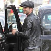 beckham leather - High Quality Hot Sale Fall Winter Fashion Mens Black Color David Beckham Real Leather Jacket Genuine Leather Jacket
