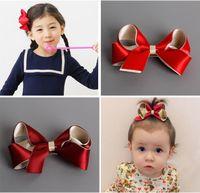 Wholesale fashion kids baby girl solid hair clip ribbon bow flower barrettes children Hair Bows hair accessory hairpin hairgrip headwear