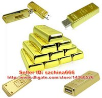 al por mayor flash usb oro 32gb-El oro metal bar modelo de 4 GB 8 GB 16 GB 2 GB USB 2.0 Flash Drive Enough Memory Stick Pen Drive