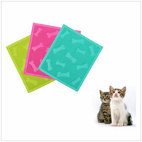 Wholesale Hot PVC Cute Solid Square Shaped Pet Dog Placemat Puppy Cat Cleaning Feeding Dish Bowl Table Mats Wipe Easy Clean Supplies