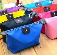 Wholesale 12 Colors Candy Cute Women s Lady Travel Makeup Bags Cosmetic Pouch Clutch Handbag Casual Purses Dumpling Type Cosmetic Gift High Quality