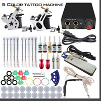 Wholesale Complete Tattoo Kits Guns Machines USA Colors Inks Sets Disposable Needles Power Supply Tips Grips