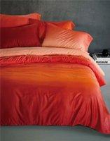 Wholesale 100 Cotton Gradient Orange Bedding Sets Blue Bedlinen King Queen Full Size Flat Home Textile Luxury No Filler