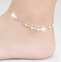 Cheap Lady Chain Hot Sexy star ankle bracelets beach jewelry new 925 Sterling silver Double layers anklets jewelry for Women Boot Foot Jewelry