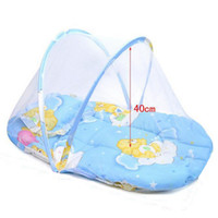 Wholesale 1SET New Summer Baby Bed With Mattress And Pillow Super Soft Crib Mosquito Netting Infant Folding Babies Mosquito Net Mattress TRQ0232