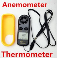 Wholesale 10 GM816 LCD Digital Wind Speed Gauge Meter Measure Anemometer Thermometer Celsius Fahrenheit Conversion C F