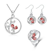 Wholesale Fashion silver Foreign trade fashion classic ms hollow circular necklace earrings ring three piece suit