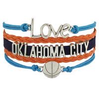 adjustable basketball set - Custom Infinity Love OKLAHOMA CITY basketball Team Bracelet Navy Blue Orange Wristband friendship Adjustable Bracelet Bangels Drop Shipping
