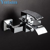 Wholesale Polished Chrome Finish New Wall Mounted Waterfall Bathroom Bathtub Handheld Shower Tap Mixer Faucet YT
