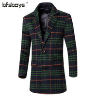 Cheap Fall-2016 new arrival Mens Plaid single Breasted X-long Trench Coat Autumn Turn-down Collar Loose Peacoat wth Pockets Dust Jacket