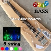 Wholesale Top Quality Factory Custom string P Electric Bass guitar fd transparent acrylic Body Head LED light Real photo show