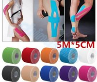 Wholesale 5cm x m Muscle Tape Sports Tape Kinesiology Tape Cotton Elastic Adhesive Muscle Bandage Care Physio Strain Injury Support