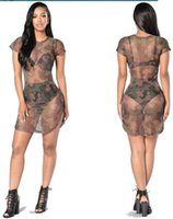 apparel beach - Ultrathin Apparel Sexy Transparent summer dress beach party short dress Women Camouflage mesh vintage dress