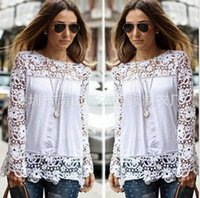 Wholesale 2016 Spring Ladies Floral Full Sleeve Chiffon Blouse Lace Top Shirt Blouse Women Clothing Plus size