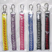 attached rings - 300pcs CCA4296 High Quality Trendy Leather Keychain Elastic Leather Braid Key Rings With Attached Hair Softball Baseball Braided Bag Pendent