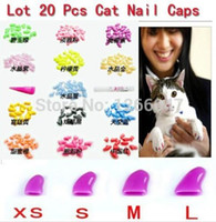 Wholesale Hot sale New Soft Cat Pet Nail Caps Claw Control Paws off Adhesive Glue Size XS S M L Colors Available