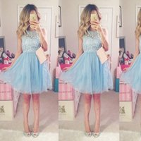 Reference Images cheap teenage dresses - 2017 Cheap Light Sky Blue Short Homecoming Dresses Lace Tulle Knee Length Short Party Dresses Teenage Prom Dresses Fast Shipping