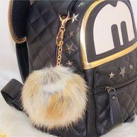 Wholesale 2016 Hot Sale Fashion Environmental Camel Color lovely CM Imitation Leather Rabbit fur ball plush key chain for car key ring Bag Pendant