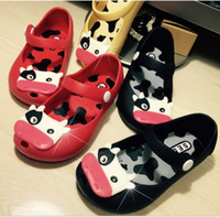 babies cow milk - New Toddler Mini Melissa Milk Cow Jelly Shoes Kids Girl Princess Mini Sandals Babies Soft Hallow Out Shoes K7529