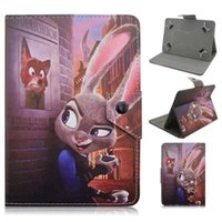 accessory city - 7 inch Universal Cartoon Crazy Animal City Zootopia Leather Wallet Case For All PC tablet Fox Batman Pouch Stand Skin Cover Luxury
