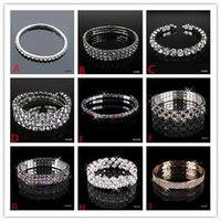 beaded gifts - In Stock Many Style Christmas Party Gift Hot Sale Bling Bling Rhinestone Stretch Bangle Wedding Bracelet Bridal Jewelry Accessories