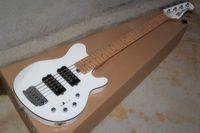 Music Man Reflex Bajo 5 cuerdas de la guitarra de la bola de la pastinaca Erime eléctrico blanco HH batería de 9V Pastillas activas