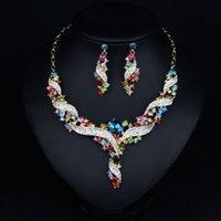 achat en gros de zinc boucles libres-En stock! Haute qualité africain faits à la main en cristal et en alliage de zinc bijoux mis avec collier boucles d'oreilles accessoires robe de livraison gratuite