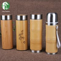 Wholesale Bamboo Stainless Steel Thermos bottles for water flasks travel mug coffee insulated cups tea thermal pot Engraving water bottles