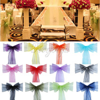 basket cover - 100PCS x108 quot Organza Chair Sash Bow For Cover Banquet Wedding Party Event Xmas Decoration Supply