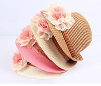 Jazz rosa España-La flor del bebé sombrero del bebé de los casquillos de los niños de paja de Fedora del sombrero de las muchachas del sombrero de Sun verano de los niños del sombrero del casquillo del jazz del sombrero del sol Dos de flores de color rosa los niños de color beige sombrero de la playa