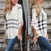 Wholesale Womens Long Sleeve Plaid Blouse Loose V neck Shirt Autumn Top Long T Shirt NEW