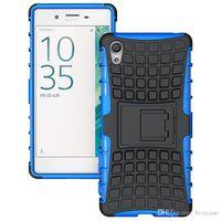 al por mayor x teléfono celular-Heavy Duty robusto defensor celular protector híbrido caso Kickstand para Sony Xperia E4 E4G E5 M4 Aqua M5 X XA cubierta a prueba de golpes