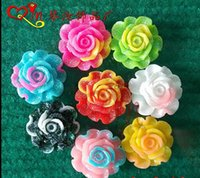 Wholesale ewest mm Mix Color Resin Flower Beads Resin Rose With Back Hole Fit Chunky Necklace