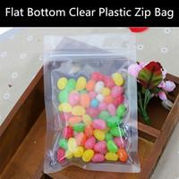 bag bottom plastic - 100pcs micron Flat Bottom Clear Plastic Ziplock Bag Transparent Plastic Gift Packaging Bag Moisture proof Food Display Bag