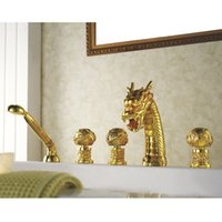 Wholesale TI Gold PVD widespread bathroom dragon tub shower faucet mixer tap deck mounted dragon pattern handles