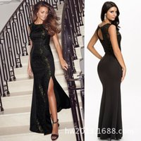 Wholesale In the spring of women s new dress sexy slim dress stitching slit fence Ali one generation