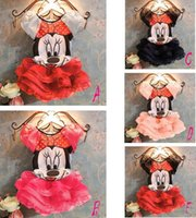 Wholesale 2016 summer clothing girl Mickey carton T shirt and tutu skirt clothing set Minnie Mouse baby