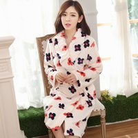 Cheap 846 # autumn and winter thick flannel nightgown female flower black coral velvet tracksuit long sleeve pajamas bathrobe bathrobe