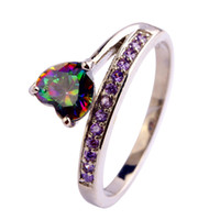 Wholesale AAA CZ Lab Jewelry MultiColor Rainbow Topaz Gems K White Gold Plated Silver Ring Size6 Women