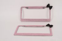 Wholesale Stainless Steel Bowknot crystal license plate frame rhinestone license plate holder bling diamante car parts for USA Canada