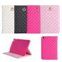 Wholesale For iPad mini lambskin texture fashion crown diamond rivets bracket protective cover for iPad mini Luxury leather case cover